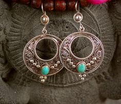 Ethnic Gypsy Filigree Earrings with Turquoise and by CosmicNorbu