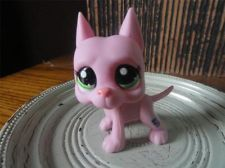 Littlest Pet Shop #2598 Pink Great Dane Dog With Green Eyes Figure Toy