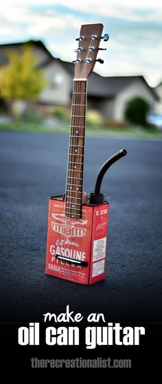 Make a simple oil can guitar.