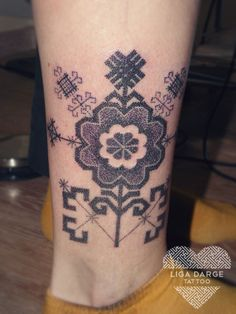 Latvian ornament. Dotwork tattoo.