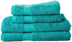 AmazonBasics - Set di 2 asciugamani da bagno e 2 asciugamani per le mani che non sbiadiscono, colore Verde Turchese euro 20,99