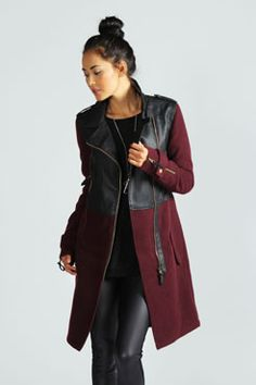 Roxie Wool Mix 2 In 1 PU Biker Coat at boohoo.com