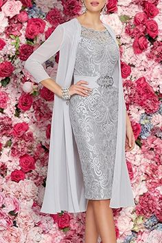 Apparel: APXPF Women's Tea Length Mother of The Bride Dresses Two Pieces with Jacket Champagne Mothers Dresses, Bride Dresses, Prom Dresses, Looks Pinterest, Gown With Jacket, Chiffon Jacket, Lace Chiffon, Chiffon Vestidos, Wedding Guest Gowns