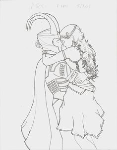 My version of Loki (movie verse) and Sigyn. With Loki's armor I've mixed and matched from the Thor movie, the Avengers movie and ( I think, I might have. Loki and Sigyn Loki Tv, Loki And Sigyn, Loki Marvel, Loki Laufeyson, Thor, Loki Whispers, Loki Imagines, New Iron Man, Loki Drawing