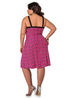 Linen Ikat Print Dress - Ashley Stewart