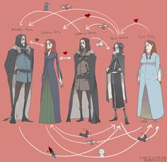 Brandon Stark, Catelyn Tully, Ned Stark, Petyr Baelish, Lysa Tully. Wolves,Fish,Mockingbird by ~joscomie on deviantART #got #agot #asoiaf
