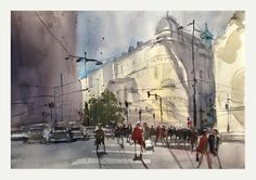 Schwarzenberger Square, Vienna, Austria - Barbara von Tannenberg‎, Watercolor on Arches, 300g