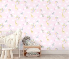 This fun Animal Balloons Wallpaper in colour Pink features giraffes, elephants and zebras flying with balloons through the clouds. Very dreamy for a baby room or little girl's bedroom. Childrens Bedroom Wallpaper, Wallpaper Design For Bedroom, Baby Nursery Wallpaper, Kids Wallpaper, Perfect Wallpaper, Dark Wallpaper, Designer Wallpaper, Giraffes, Zebras