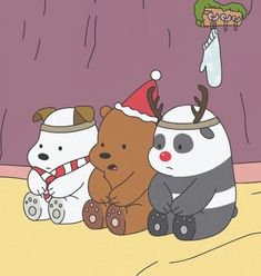 We bare bears uploaded by ILOW on We Heart It Cute Disney Wallpaper, Cute Cartoon Wallpapers, Wallpaper Iphone Cute, Ice Bear We Bare Bears, We Bear, Bff, We Bare Bears Wallpapers, Christmas Cartoons, Bear Wallpaper