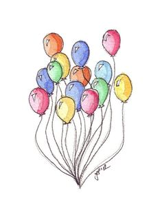 Inspiration...  Watercolor Painting  Bunch of Balloons Watercolor Art by jojolarue, $12.00