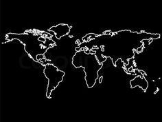 Image of 'white world map outlines isolated on black background, abstract art illustration' on Colourbox