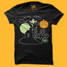 Helloween NEW (Adult & Kids) Black Glow In The Dark Poly-Cotton T-Shirt $22-$24 | Hello Apparel Halloween 2015
