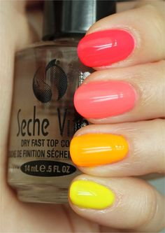 DIY :: Neon Ombre/Skittle Manicure :: Top to btm (all China Glaze)... Pool Party (pinkish red), Flip Flop Fantasy (coral), Sun Worshiper (orange), Yellow Polka Dot Bikini