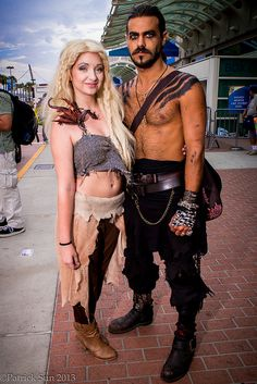 Khaleesi and Khal Drogo from Game of Thrones #cosplay  - Drogo .looks most like the character, but both a good effort! #gameofthrones