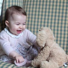 We're all smiles today too, Princess Charlotte.  Our phones have been ringing off the hook ever since your mom took this photo.  It's a happy day!  Fuddlewuddle puppy has arrived! ❤️ #royalbaby