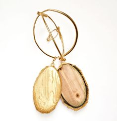 Edgar Mosa Brooch: Chrysalides, 2012 Wood, Gold Plated Copper photo:Topher Scott