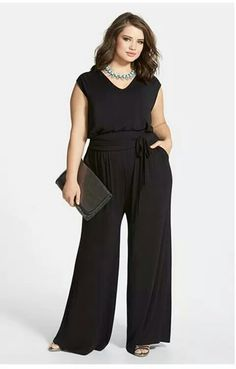 Sejour Jumpsuit & Accessories (Plus Size) available at This would pack well for my one nice dining outfit. Throw on a denim jacket, scarf and black boots and sunglasses so it could be dressed down for the last day of sightseeing in Venice this fall. Curvy Girl Fashion, Plus Size Fashion, Plus Size Womens Clothing, Plus Size Outfits, Modelos Plus Size, Plus Size Jumpsuit, Looks Plus Size, Plus Size Kleidung, Jumpsuit Outfit