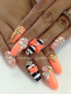 Orange black and white nails