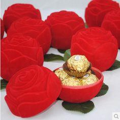 Free shipping 200 pcs/lot Rose candy box, fashion creative chocolate candy gift box, wedding box bonboniere(China (Mainland))