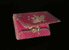 1750, France - Pocket book - Silk, embroidered with coloured silks and metal thread, with watercolour painted panels
