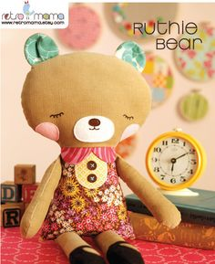 Girl Bear Doll Sewing Pattern PDF Instant Download by retromama