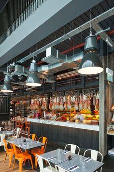 Jamie's Italian in Westfield, Stratford City | Yatzer  Look at the ceiling detail, love the industrial look.