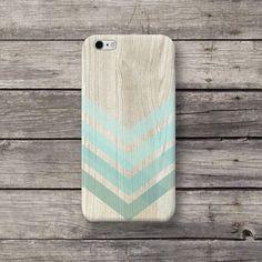 Holz Chevron Türkis Hülle für Handy iPhone Sony LG von MichaelCase Shop auf DaWanda.com