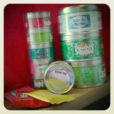 My first Kusmi Tea tins. I almost didn't have the heart to open any of them. #kusmitea #kusmiteaparis