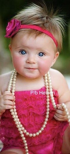 Cute Kids, Cute Babies, Baby Kids, Single Rose, Bright Pink, Little Girls, Hot Pink, Beautiful People, Pearl Necklace