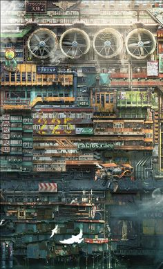 Great Cyberpunk - Anime City concepts for Lego! Arte Cyberpunk, Cyberpunk City, Futuristic City, Cyberpunk Anime, 3d Fantasy, Fantasy Landscape, Fantasy World, Environment Concept Art, Environment Design