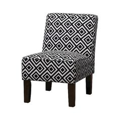 Burke Accent Print Slipper Chair ($160) ❤ liked on Polyvore featuring home, furniture, chairs, accent chairs, black and white accent chair, black and white chair, armless accent chairs, armless slipper chair and patterned accent chairs