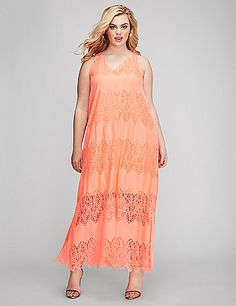Light. Airy. This lace maxi dress has all the elements of a perfect summer dress. Lined to the knee (or just a bit above). V-neck. lanebryant.com