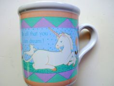 Vintage Unicorn Coffee Mug 1985 by WylieOwlVintage on Etsy, $14.00
