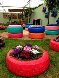 Ideas maceteros y muebles de neumáticos reciclados