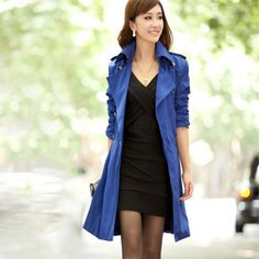 With this versatile design coat, this will complement with any outfit and in any season. This is a medium long design coat with long sleeves, turn down collar, buttons and adjustable belt that complet