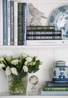 A Mayflower House Interior Styling project featuring beautiful New American Classic bookcase styling, complemented by a gorgeous spring table setting in fresh blue and green. Interior Styling, Interior Decorating, Interior Design, Decorating Tips, Diy Design, White Bookshelves, Bookcases, Barrister Bookcase, Shelf Arrangement