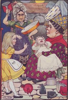 """""""The fire-irons came first; then followed a shower of saucepans, plates, and dishes.""""  Art: Maria L. Kirk, New York: Stokes, 1904"""