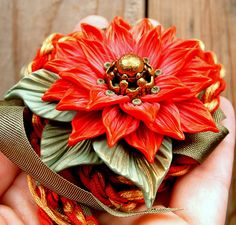 Flower Pendant with Leaves Hand sculpted polymer clay by ZudaGay