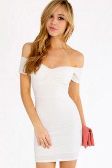 Tobi Pucker Off Shoulder Dress