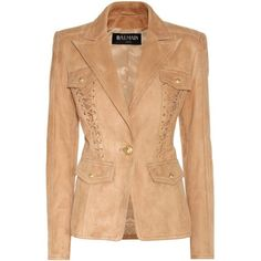 Balmain Embellished Suede Blazer (22845 MAD) ❤ liked on Polyvore featuring outerwear, jackets, blazers, balmain, beige, beige suede jacket, suede blazer, embellished jacket, embellished blazer and suede leather jacket