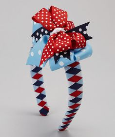 Take a look at this Red & Blue Polka Dot 4th of July Bow Headband by Waistin' Away on #zulily today!