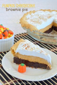 Pumpkin Cheesecake Brownie Pie - three layers of fall goodness in one pie http://www.insidebrucrewlife.com