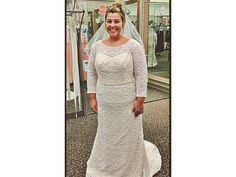 We have long sleeve plus size wedding dresses like this that can be made to order in any measurements and with any changes.  This ivory colored bridal gown has an illusion neckline.  The lace pattern is distinctive. We can produce all types of #plussizeweddingdresses for you.  (We can also make replicas of any couture bridal gown for less.)  Get pricing and see more designs at http://www.dariuscordell.com/featured_item/plus-size-wedding-dresses-bridal-gowns/