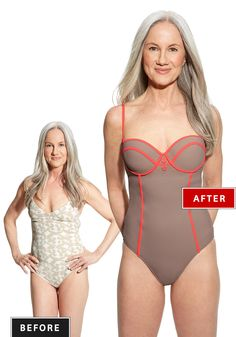 Bathing Suit Drama: A suit with a poor fit makes her top half look small and, even worse, droopy. Double-click for the perfect shape-enhancing suit...