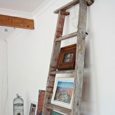 A DIY ladder photo display