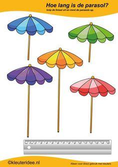 Meet de parasols  , kleuteridee.nl , rekenen voor kleuters, thema zomer , summer theme for preschool free printable.