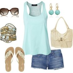 aqua tank and jean shorts A fashion look from July 2012 featuring lace top, short shorts and flat sandals. Browse and shop related looks. Cute Summer Outfits, Short Outfits, Spring Outfits, Casual Outfits, Summer Clothes, Party Clothes, Beach Outfits, Fashion Moda, Look Fashion
