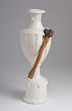 Laurent Craste, porcelain, axes, and crowbars