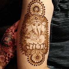 Ganesha mehndi designs by Indian Mehndi Designs, Unique Mehndi Designs, Mehndi Art, Mehendi, Henna Tattoos, Tatoos, Art Beat, Ganesha, Crochet