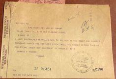 WESTERN UNION TELEGRAM FROM HOWARD HUGHES TO IRVING TRUST REGARDING RKO PICTURES #WesternUnion